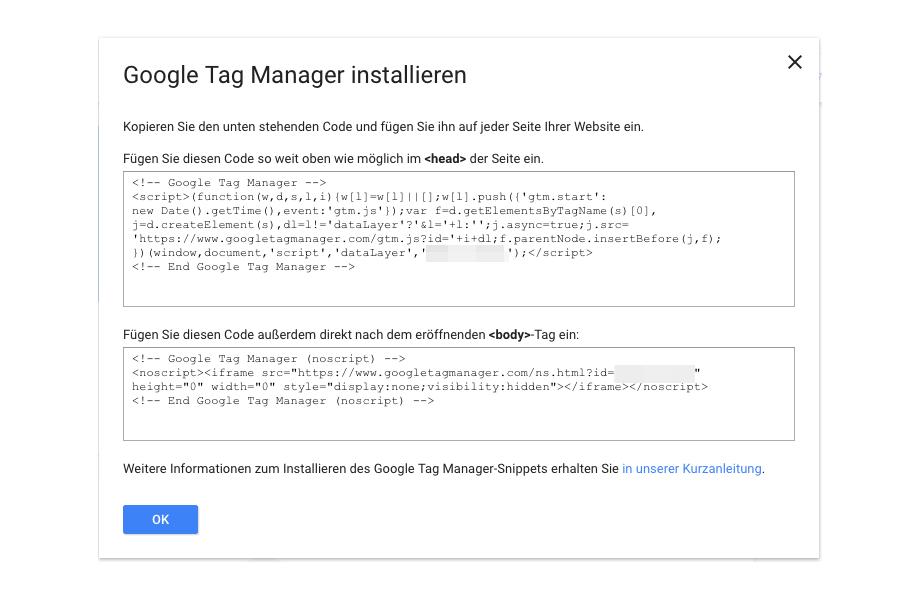 Google tag Manager Code Snippets in Website einfügen