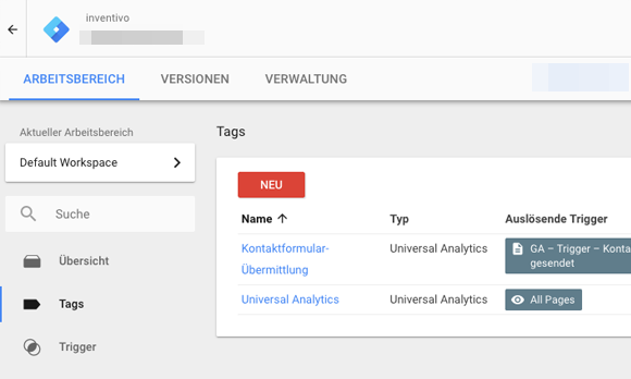 Tracking von Formularenmit demGoogle Tag Manager