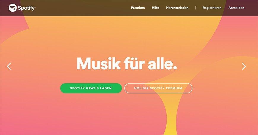 Beispiel spotify.com: Fette Schriften und grelle Farben.