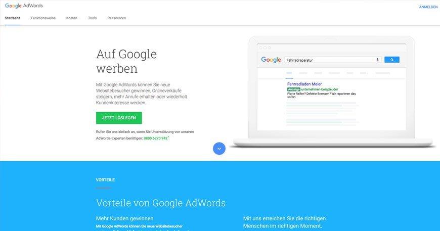AdWords Startseite mit Whitespace